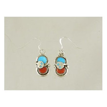 Effie Calavaza Silver Turquoise & Coral Dangle Earrings (ER3941)