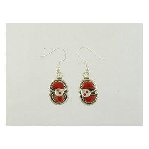 Effie Calavaza Silver Coral Earrings