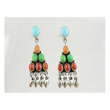 Turquoise & Gemstone Dangle Earrings (ER3959)