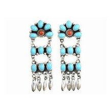 Sleeping Beauty Turquoise & Coral Dangle Earrings by Geneva Apachito, Navajo