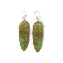 Turquoise Feather Slab Earrings by Ronald Chavez, Santo Domingo Indian Artist