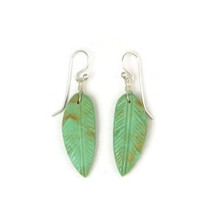 Turquoise Feather Slab Earrings by Santo Doming Jewelry Artist, Ronald Chavez