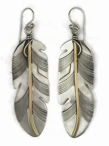 12k Gold & Sterling Silver Feather Earrings by Lena Platero, Navajo (ER5003)