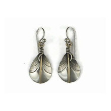 12k Gold & Sterling Silver Feather Earrings by Lena Platero, Navajo (ER5005)