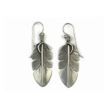Sterling Silver Feather Earrings by Lena Platero, Navajo (ER5016)