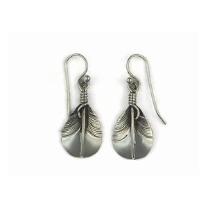 Sterling Silver Feather Earrings by Lena Platero, Navajo (ER5017)