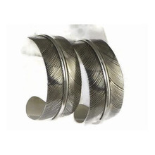 Sterling Silver Feather Hoop Earrings by Lena Platero, Navajo (ER5028)