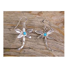 Sterling Silver Turquoise Dragonfly Earrings by Darlene Platero, Navajo