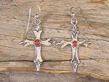 Silver Mediterranean Coral Dangle Cross Earrings