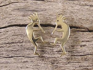 14K Gold Kokopelli Post Earrings