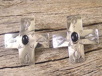 Onyx & Silver Cross Earrings