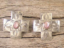 Pink Mother of Pearl & Silver Cross Earrings