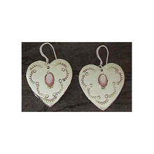Pink Mother of Pearl Heart Earrings