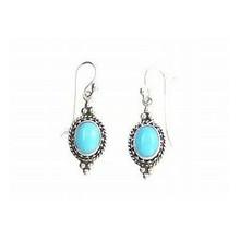 Sleeping Beauty Turquoise Gallery Wire Earrings
