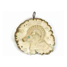 Large Ram Antler Fetish Carving Pendant - Zuni