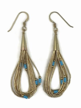 10 Strand Liquid Gold Turquoise Heishi Earrings