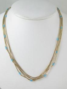 "5 Strand Liquid Gold & Turquoise Heishi Necklace 16"" - 18"""