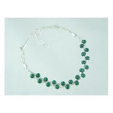 Liquid Silver Malachite Bead Bracelet