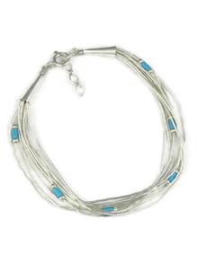 "10 Strand Liquid Silver & Turquoise Heishi Bracelet 7"""