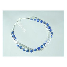 Liquid Silver Lapis Beaded Bracelet