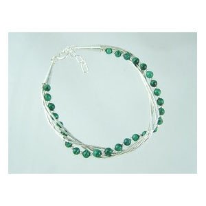 Liquid Silver Malachite Beaded Bracelet