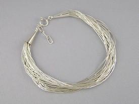 20 Strand Liquid Silver Bracelet - Adjustable Length