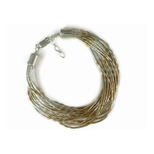 20 Strand Liquid Silver & Gold Bracelet Adjustable Length