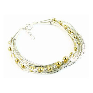 Four Strand Liquid Silver & Gold Bead Bracelet