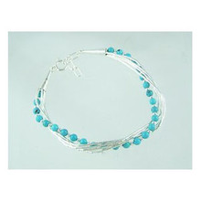 Liquid Silver Turquoise Beaded Bracelet