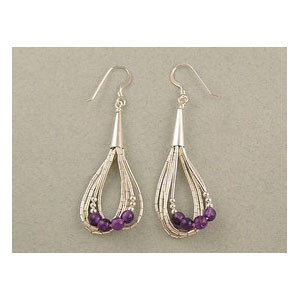 Liquid Silver Amethyst Bead Earrings (LSER001)