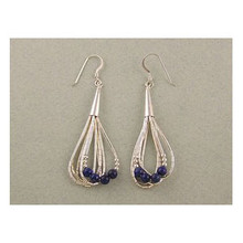 Liquid Silver Lapis Bead Earrings
