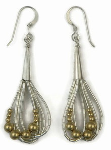 Liquid Silver Gold Bead Earrings (LSER001GB)