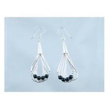 Liquid Silver Onyx Bead Earrings (LSER001OX)