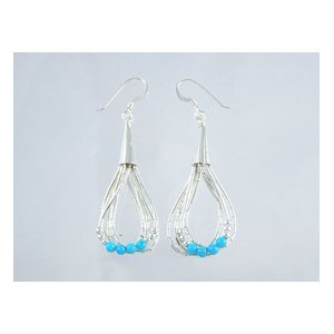 Liquid Silver Turquoise Bead Earrings