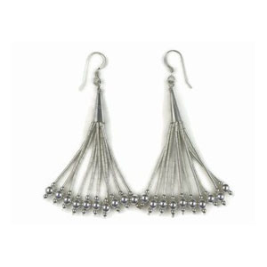 Liquid Silver Beaded Dangle Earrings