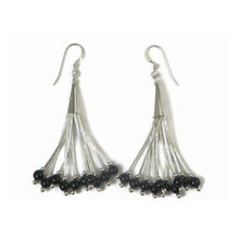 Liquid Silver Onyx Bead Earrings (LSER036OX)