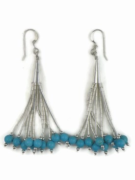 Liquid Silver Turquoise Bead Earrings 2 3/4""
