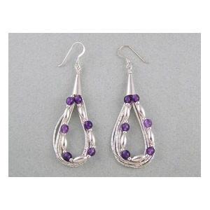 Liquid Silver Amethyst Beaded Earrings