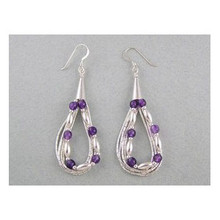 Liquid Silver Amethyst Beaded Earrings
