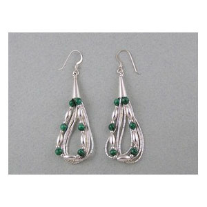 Liquid Silver Malachite Beaded Earrings