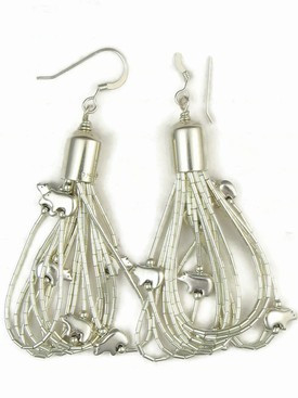 10 Strand Liquid Silver Fetish Bear Earrings 2""