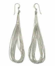 "10 Strand Liquid Silver Earrings 3 1/2"" Long"