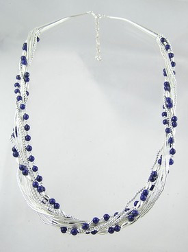 "Liquid Silver Lapis Beaded Necklace 18"" - 20"""