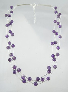"Liquid Silver Amethyst Beaded Necklace 16 1/2"" - 18 1/2"""