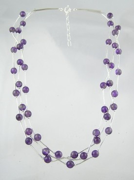"Liquid Silver Amethyst Beaded Necklace 16 1/2"" - 18 1/2"""