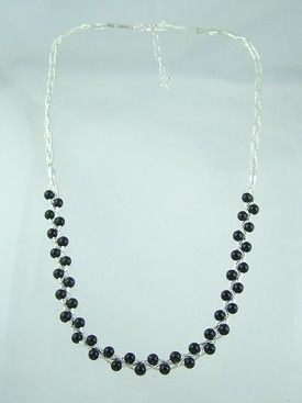 Liquid Silver Onyx Bead Necklace