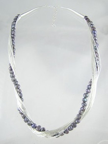 "Liquid Silver Grey Pearl Necklace 20"" - 22"""