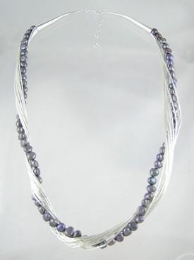 """Liquid Silver Grey Pearl Necklace 20"""" - 22"""""""