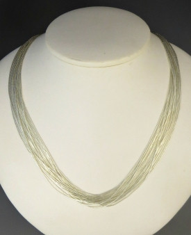 "20 Strand Liquid Silver Necklace Adjustable Length 18"" - 20"""