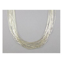 20 Strand Liquid Silver Necklace - Adjustable Length 30""